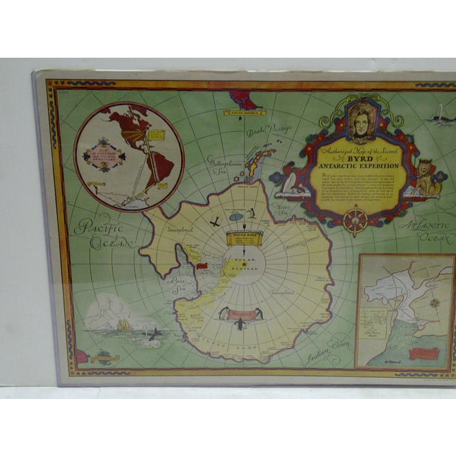 1934 Authorized Map of Second Byrd Antarctic Expedition General Foods - Image 3 of 5