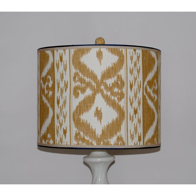 Column Lamps with Ikat Shades- A Pair - Image 5 of 6