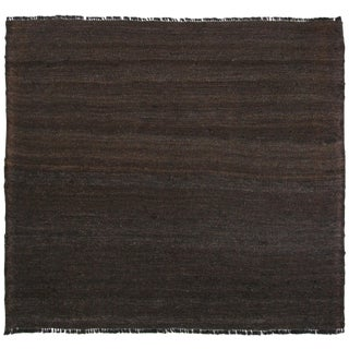 Natural Coffee Color Wool Flatweave | 3'2 x 2'11 Kilim