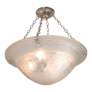 Elegant Art Deco Relief Geometric and Floral Frosted Glass Chandelier by Degue