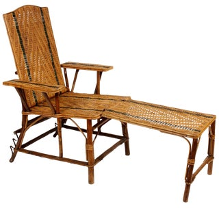 Vintage French Rattan Chaise Lounge & Footrest