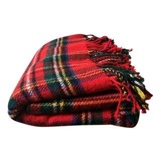 Red Wool Plaid Edinburgh Woolen Mills Throw