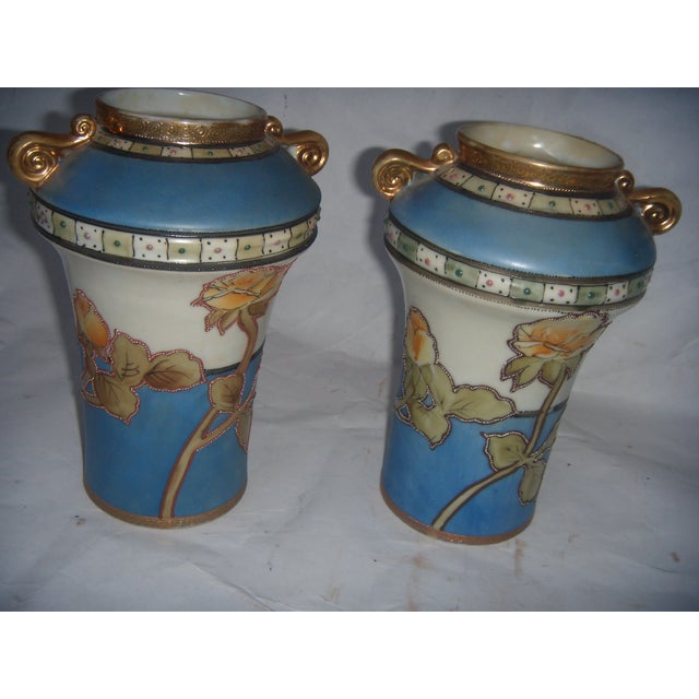 Powder Blue & Peach Nippon Vases - A Pair - Image 3 of 9