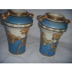 Image of Powder Blue & Peach Nippon Vases - A Pair