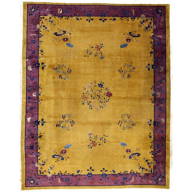 Gold Amp Purple Antique Art Deco Chinese Rug 12 X14