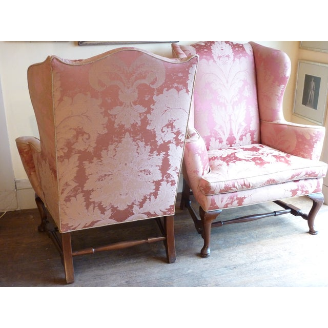 Vintage Cherry Wingback Chairs - a Pair - Image 3 of 6