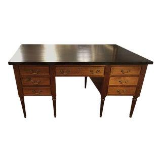 Walnut & Ebonized Top Partners Desk