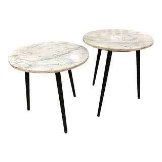 Vintage Marble Top Side Tables With Black Wood Legs -- A Pair