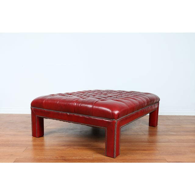 Bernhardt Interiors Red Leather Ottoman - Image 2 of 9