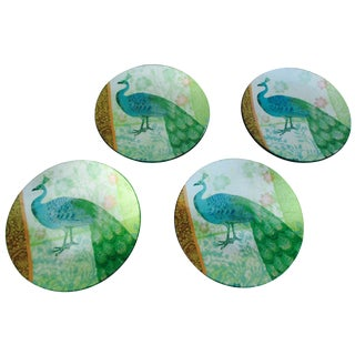 Glass Peacock Plates - Set of 4