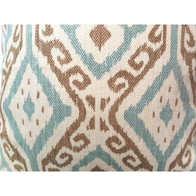 Taupe & Aqua Ikat Pillow - Image 3 of 4