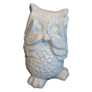 Large Crackle Glazed Ceramic Owl