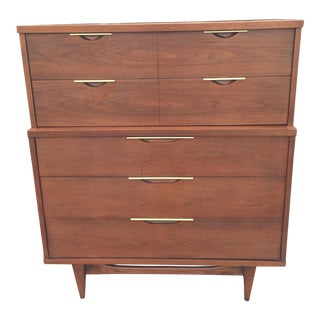 "Kent Coffey ""The Tableau"" Five Drawer Walnut Highboy Dresser"