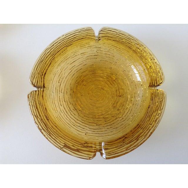 Amber Waterfall Glass Ashtray Catchall Dish - Image 3 of 3