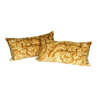 Fresco I in Gold Color Way Silk Pillows - A Pair