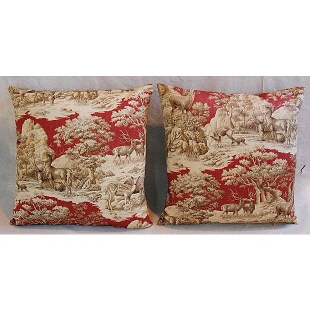 Designer French Woodland Deer Toile Pillows - Pair - Image 7 of 8