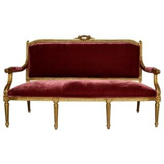 Vintage 1950s Louis XVI-Style Gilt Wood Sofa