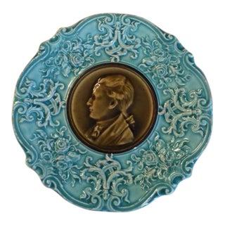 Antique 1880 Majolica Medallion Cameo Plate