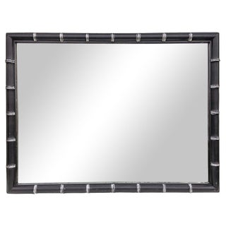 Vintage Distressed Faux-Bamboo Rectangular Mirror