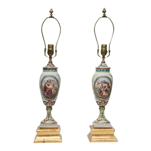 19th Century Pair of Italian Porcelain Capodimonte Vases as Table Lamps - Image 1 of 8