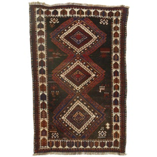 "Hand Knotted Wool Persian Hariz Rug - 3'11"" X 6'4"""