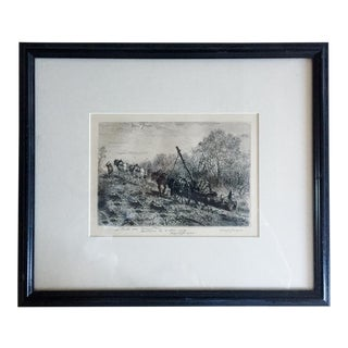 Marcel Jacques Mid-Century Signed Etching, 1963