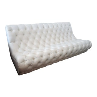 HStudio Zoie White Tufted Vinyl Sofa by Shlomi Haziza