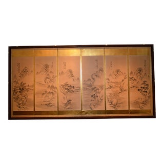 Asian Painted Panel Paper Screen