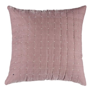 Rose Embroidered Silk Velvet Pillow