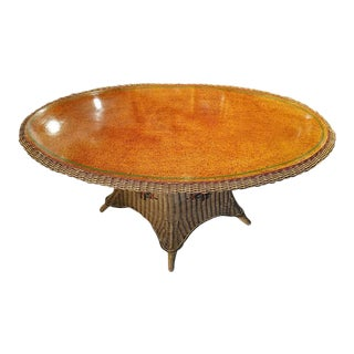 American Wicker Large Table with Grain-Painted Top