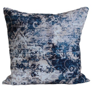 Turkish Distressed Blue Print Pillow Cover