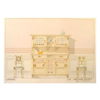 Vintage French Decorator Sheet Interior/Dresser