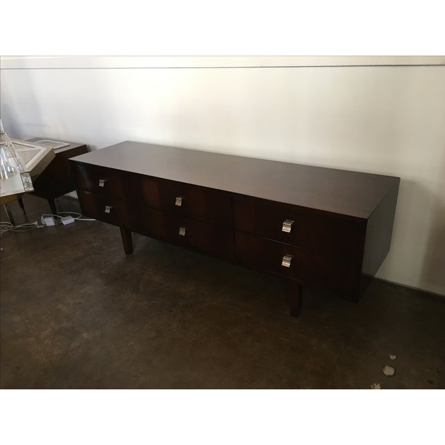 Mid Century Modern Argentine Manner of Jean Michel Frank by Comte Walnut Low Sideboard / Credenza - Image 4 of 10