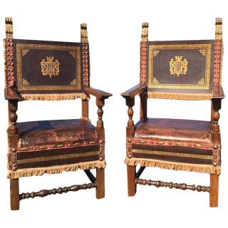 Antique French Leather & Walnut Throne Chairs - A Pair