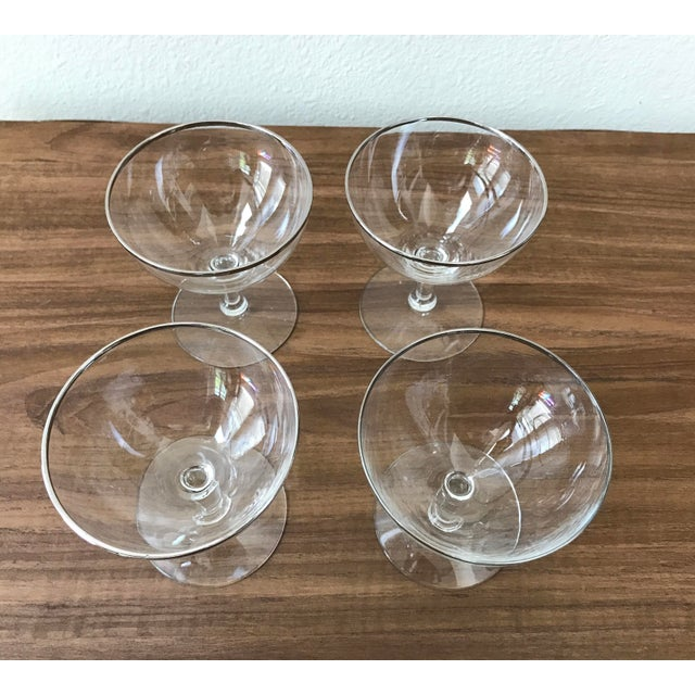 Image of Mid-Century Silver Rimmed Champagne Glasses - Set of 4
