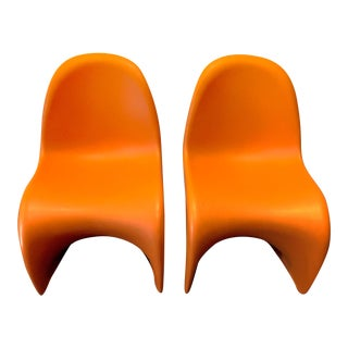 Vitra Panton Orange Junior Chairs- a Pair