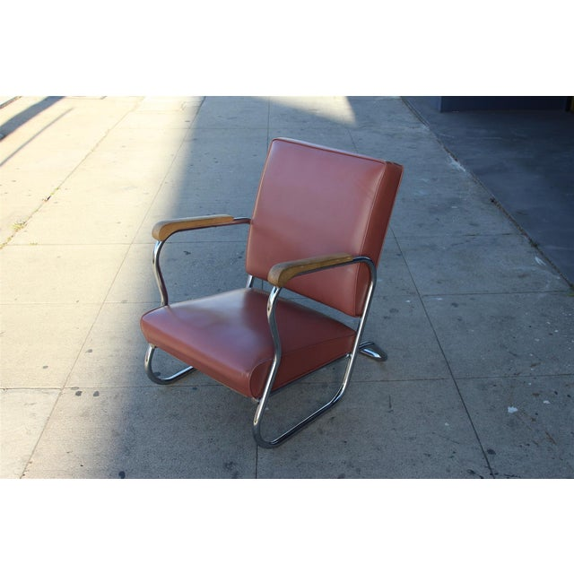 Postmodern Deco Style Chrome Lounge Chair in Mauve - Image 3 of 9