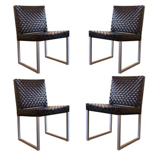 Black Patent Leather Woven Side Chairs - Set of 4