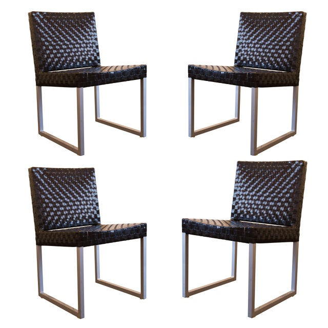 Black Patent Leather Woven Side Chairs - Set of 4 - Image 1 of 5