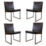Image of Black Patent Leather Woven Side Chairs - Set of 4