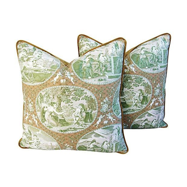 Custom Scalamandre Cupido Toile Pillows - A Pair - Image 1 of 6