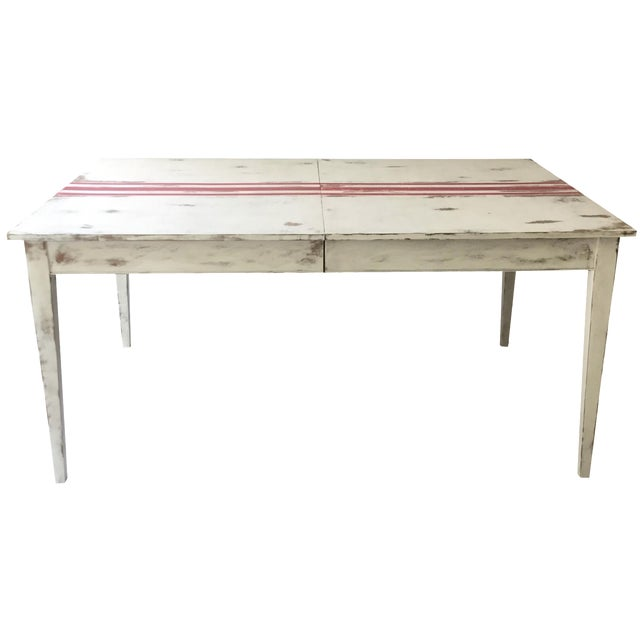 Painted swedish style country dining table chairish for Country style dining table