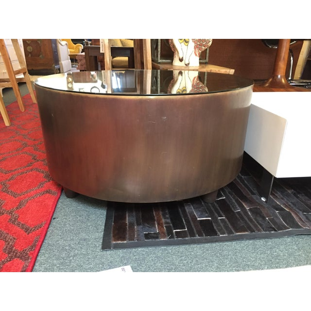 Cabana round brass coffee table with bronze finish chairish for Bronze metal coffee table