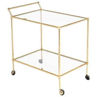 Vintage French Brass Faux Bamboo Bar Cart or Trolley by Maison Baguès