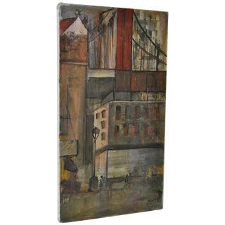 Mid-Century Cityscape & Bridge Oil Painting