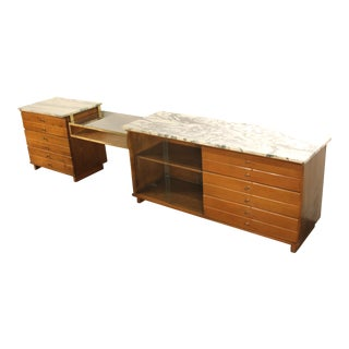 Paul McCobb Marble Top 3 Section Credenza