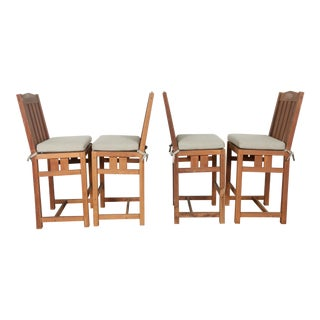 Mission Furniture Teak Bar Stools - Set of 4