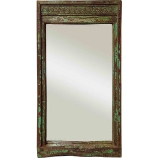 Green Distressed Framed Mirror