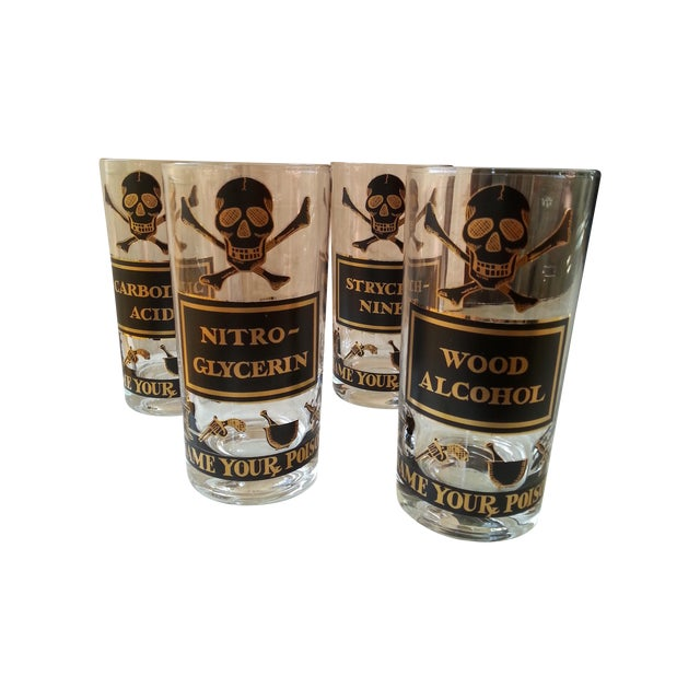 "Vintage Highball Glasses, ""Name Your Poison"" - 4 - Image 1 of 9"
