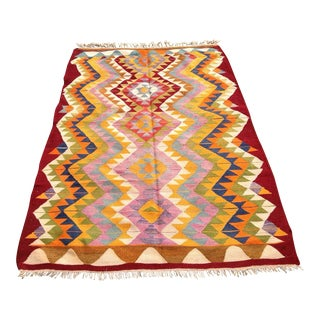 Vintage Turkish Kilim Rug - 5′5″ × 7′11″